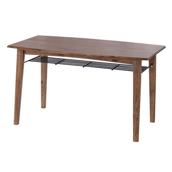 天然木ダイニングテーブル/リビングテーブル 【幅130cm】 収納棚付き アンティーク調 『ティンバー』 PM-304T【日時指定不可】
