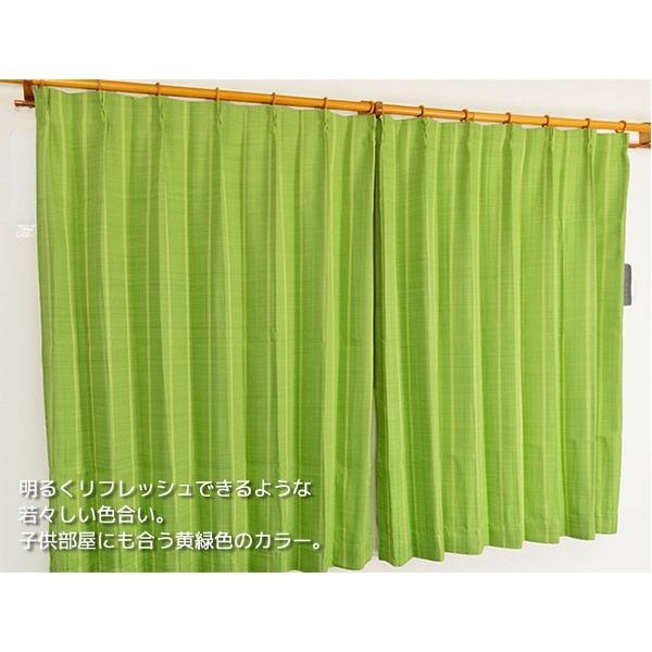形状記憶加工遮光カーテン 【2枚組 100×215cm】 グリーン 洗える シンプル 『ストレート』【日時指定不可】
