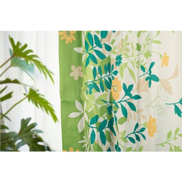 6種類から選べるリーフ柄遮光カーテン 【2枚組 100×188cm/グリーン】 形状記憶 洗える ボタニカル柄 『フロー』【日時指定不可】