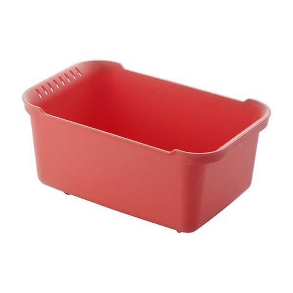 【12セット】 ウォッシュタブ/洗い桶 【レッド】 36×22×16.5cm 本体:PP 『リベラリスタ』【代引不可】【日時指定不可】