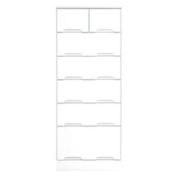 ハイチェスト 6段 【幅50cm】 スライドレール付き引き出し 日本製 ホワイト(白) 【完成品 開梱設置】【代引不可】【日時指定不可】