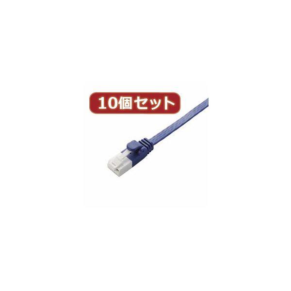 10個セット エレコム ツメ折れ防止フラットLANケーブル(Cat6A) LD-GFAT/BM20X10【日時指定不可】