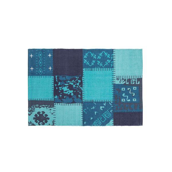 ラグマット/絨毯 【130cm×90cm ブルー】 長方形 コットン製 裏面:スベリ止め加工 TTR-131BL【日時指定不可】