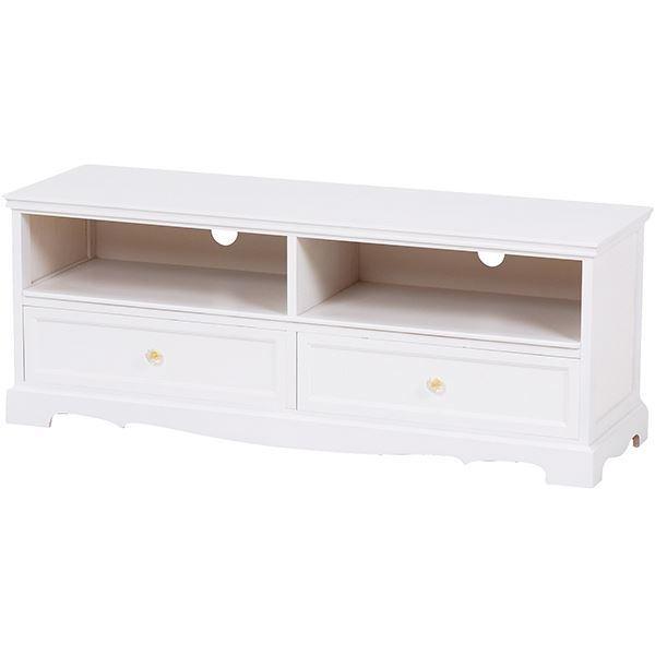 テレビ台/テレビボード 【幅110cm:32型~46型対応】 木製 引き出し収納付き ヨーロピアン調 ホワイト(白) 【完成品】 【代引不可】