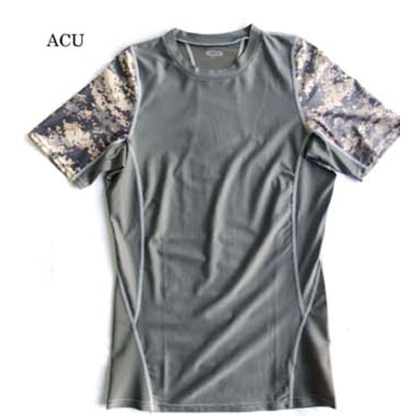 スリムフィットコンプレッションアメリカ軍タクティカルトレーニング吸汗速乾シャツ半袖レプリカ ACU XL【日時指定不可】