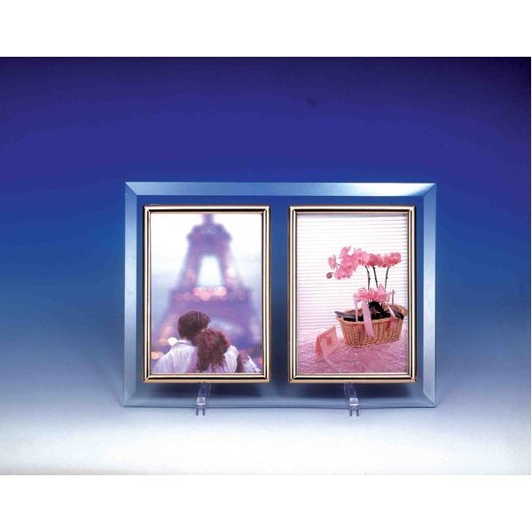 クリスタルWフォトフレーム/写真立て ハガキ 【ハガキサイズ対応】 150×105mm クリスタルガラス使用 日本製【日時指定不可】