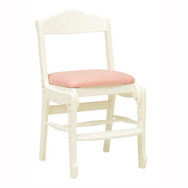 キッズチェア(子供用椅子/学習椅子) 木製/合成皮革(合皮) 幅43cm 高さ調整可 ホワイト(白) 【代引不可】【日時指定不可】