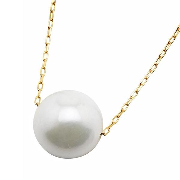 アコヤ真珠 ネックレス パールネックレス K18 イエローゴールド 8mm 8ミリ珠 40cm 長さ調節可能(アジャスター付き) あこや真珠 ペンダント パール 本真珠【日時指定不可】