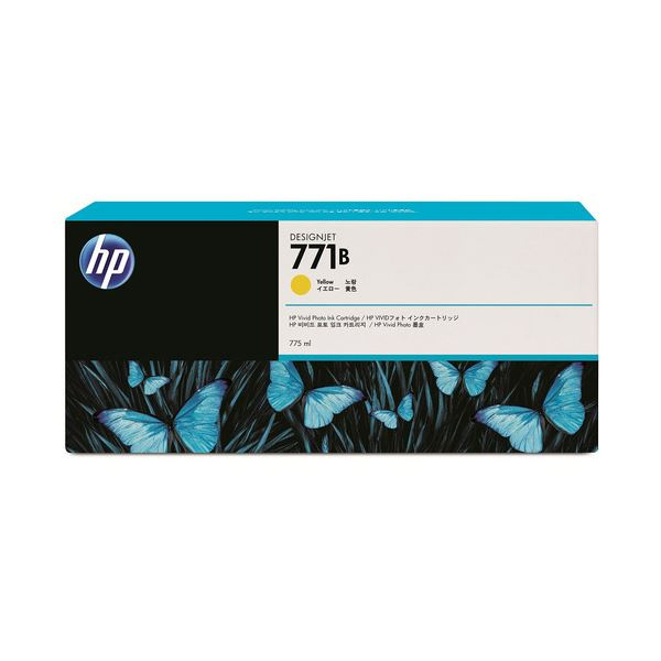 (まとめ) HP771B インクカートリッジ イエロー 775ml 顔料系 B6Y02A 1個 【×3セット】【日時指定不可】