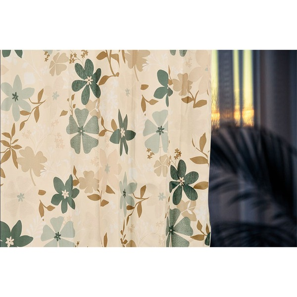 柄が選べる花柄遮光カーテン 【2枚組 100×200cm/グリーン】 洗える 形状記憶 『アーロン』【日時指定不可】