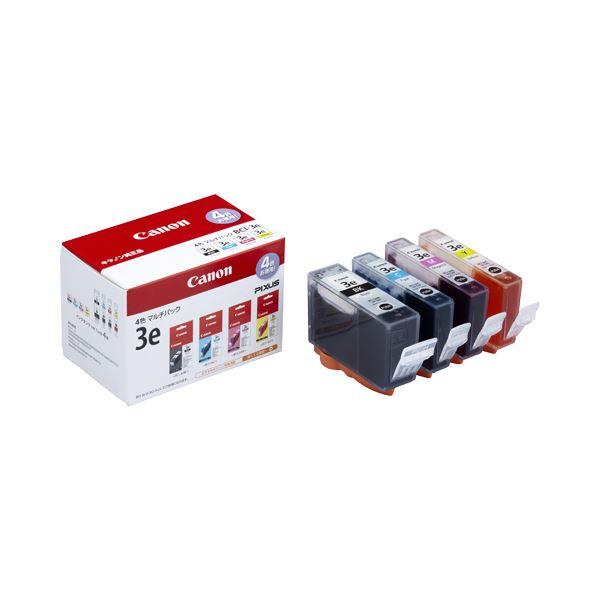 (まとめ) キヤノン Canon インクタンク BCI-3e/4MP 4色マルチパック 1776B001 1箱(4個:各色1個) 【×3セット】【日時指定不可】