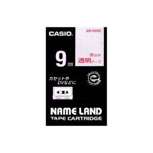 (業務用50セット) カシオ CASIO 透明テープ XR-9XRD 透明に赤文字 9mm【日時指定不可】