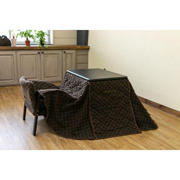 パーソナルこたつテーブル・掛け布団・椅子 【3点セット】 ブラウン 本体:幅70cm 高さ3段階調節可 木目調【代引不可】