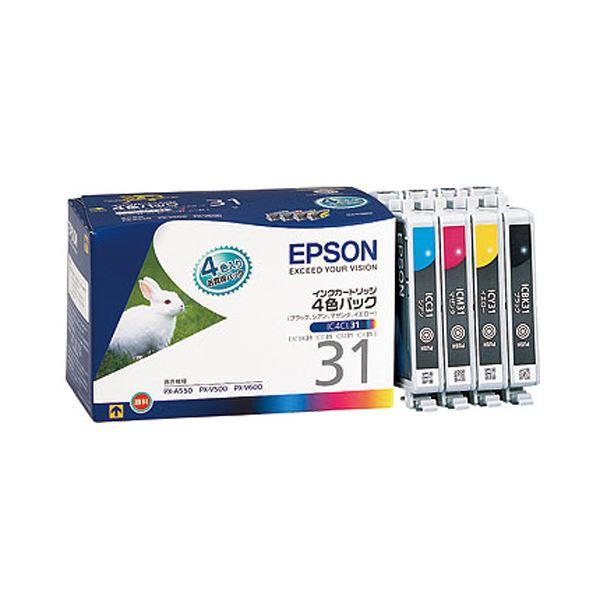 (まとめ) エプソン EPSON インクカートリッジ 4色パック IC4CL31 1箱(4個:各色1個) 【×3セット】【日時指定不可】