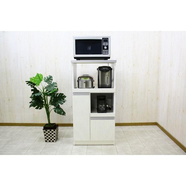 レンジ台(キッチン収納) 2型 幅60cm スライドレール/二口コンセント/米びつ付き 日本製 ホワイト(白) 【完成品】【代引不可】【日時指定不可】