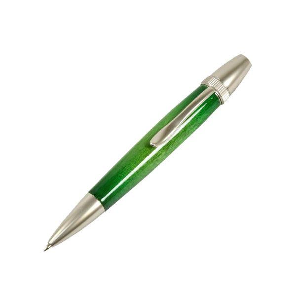 日本製 Air Brush Wood Pen キャンディカラー ボールペン(ギター塗装)【パーカータイプ/芯:0.7mm】Green/カーリーメイプル【日時指定不可】