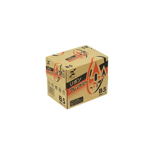 (まとめ) 日本製紙 リボンフレンドリー B5RBNF-B5 1セット(2500枚:500枚×5冊) 【×5セット】【日時指定不可】