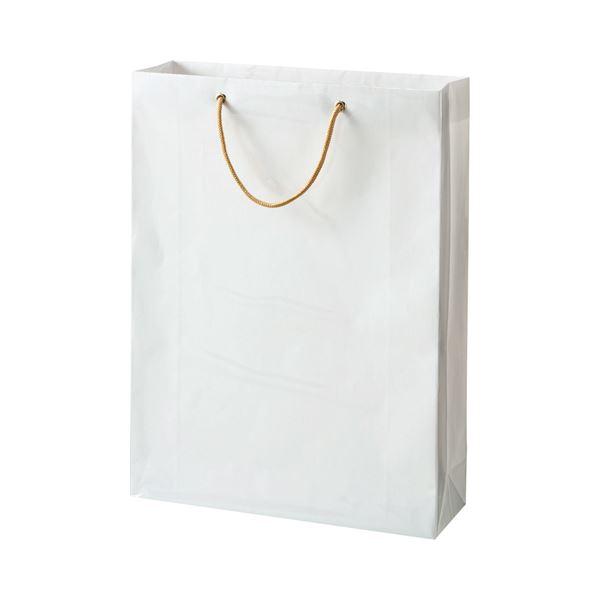 (まとめ) TANOSEE ビニールカバー付手提げ袋 L ヨコ380×タテ510×マチ幅120mm 白無地 1パック(10枚) 【×5セット】【日時指定不可】
