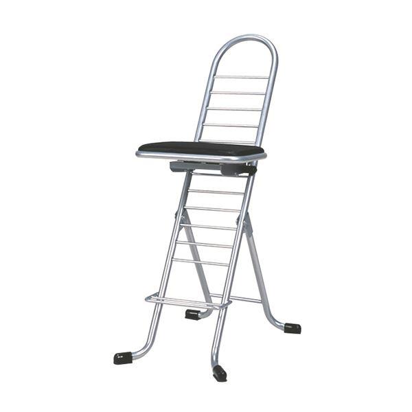 シンプル 折りたたみ椅子 【ブラック×シルバー】 幅420mm 日本製 スチールパイプ 『プロワークチェア スイング』【代引不可】【日時指定不可】