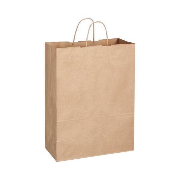 (まとめ) TANOSEE 紙手提袋 丸紐 特大 ヨコ360×タテ480×マチ幅170mm 茶 1パック(50枚) 【×5セット】【日時指定不可】