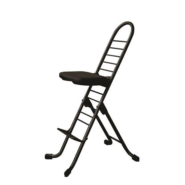 シンプル 折りたたみ椅子 【ブラック×ブラック】 SH31~84cm スチールパイプ 『プロワークチェア』【代引不可】【日時指定不可】