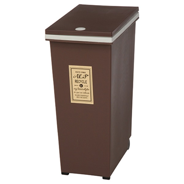 プッシュ式ダストボックス/ゴミ箱 【45L ブラウン】 幅42cm ポリプロピレン製 キャスター付き 『アルフ』 【4個セット】【代引不可】【日時指定不可】