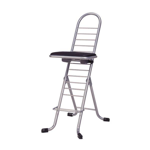 シンプル 折りたたみ椅子 【ブラック×シルバー】 SH83~33cm 日本製 スチールパイプ 『プロワークチェア』【代引不可】【日時指定不可】