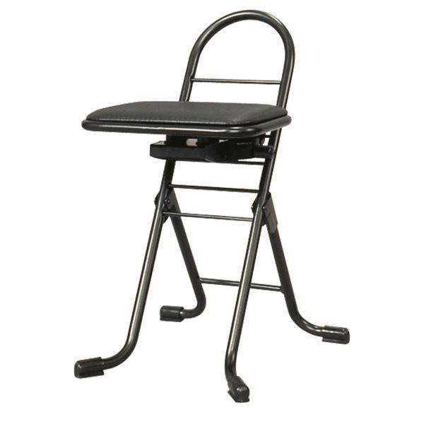 シンプル 折りたたみ椅子 【ブラック×ブラック】 幅420mm 日本製 スチールパイプ 『プロワークチェア スイング ミニ』【代引不可】【日時指定不可】