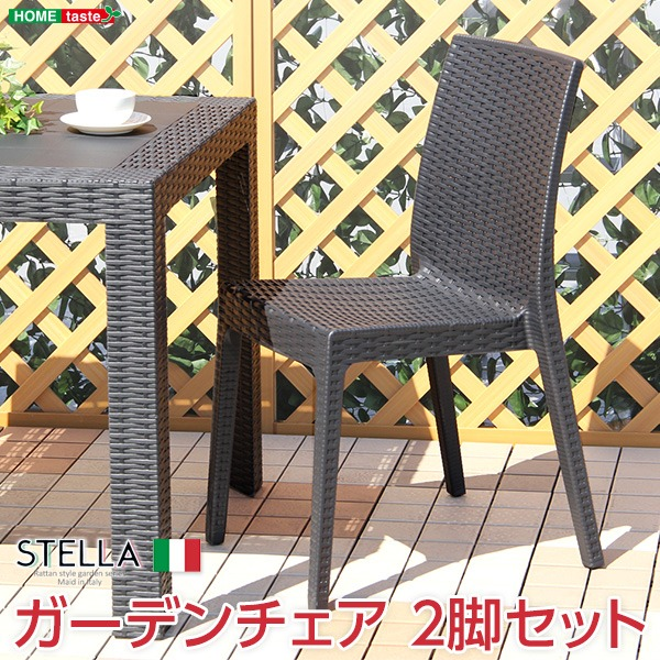 ガーデン パーソナルチェア 2脚セット 【ブラック】 幅約46cm 洗える プラスチック 『ステラ STELLA』 〔店舗〕【代引不可】【日時指定不可】