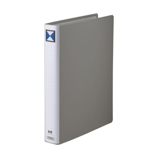 (まとめ) TANOSEE 両開きパイプ式ファイル A4タテ 300枚収容 背幅46mm グレー 1冊 【×30セット】【日時指定不可】