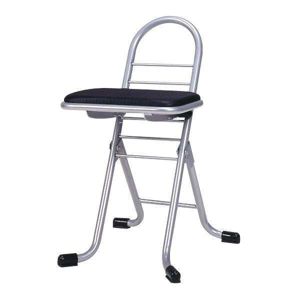 シンプル 折りたたみ椅子 【ブラック×シルバー】 幅420mm 日本製 スチールパイプ 『プロワークチェア ミニ』【代引不可】【日時指定不可】
