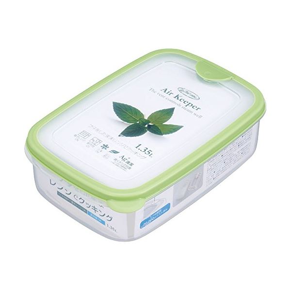 (まとめ) エアキーパー フードケース/保存容器 【ソフトグリーン Lサイズ 1350ml】 抗菌効果 食洗機可 【×60個セット】【日時指定不可】