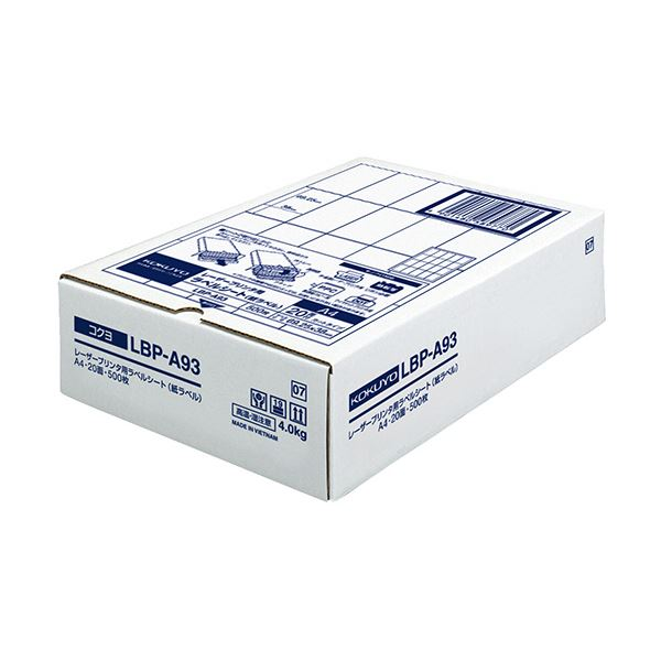 コクヨ モノクロレーザープリンタ用紙ラベル A4 20面 69.25×38mm LBP-A93 1冊(500シート)【日時指定不可】