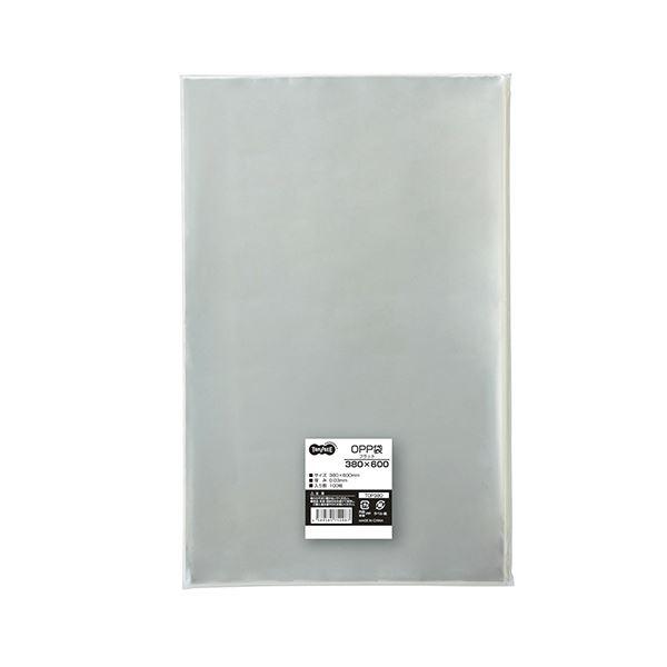 (まとめ) TANOSEE OPP袋 フラット380×600mm 1パック(100枚) 【×5セット】【日時指定不可】