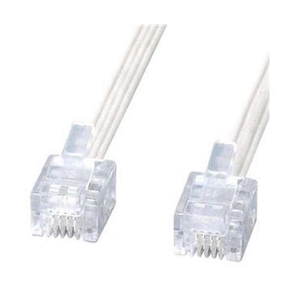 (まとめ)サンワサプライ エコロジー電話ケーブル6極4芯 ホワイト 3m TEL-E4-3N2 1本【×20セット】【日時指定不可】