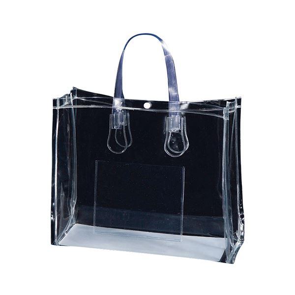 (まとめ) TANOSEE 透明PVCバッグA4ワイド ポケット・ホック付 1パック(10枚) 【×5セット】【日時指定不可】
