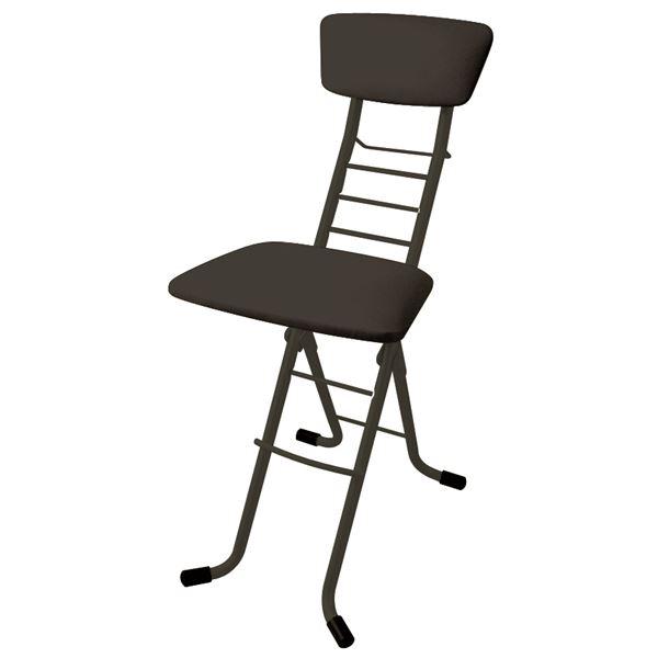 シンプル 折りたたみ椅子 【ブラック×ブラック】 幅35cm 日本製 高さ6段調節 スチールパイプ 『ワーキングチェアモア』【代引不可】【日時指定不可】