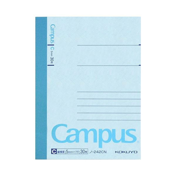 (まとめ) コクヨ キャンパスノート(細横罫) A7変形 C罫 30枚 ノ-242C 1セット(20冊) 【×10セット】【日時指定不可】