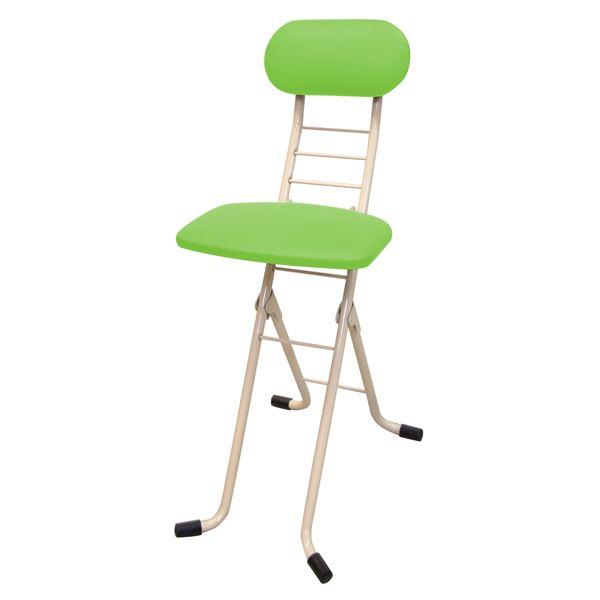 折りたたみ椅子 【グリーン×ミルキーホワイト】 幅35cm 日本製 スチールパイプ 『ワーキングチェアジョイ』【代引不可】【日時指定不可】