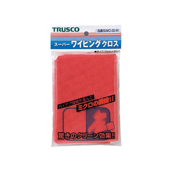 (まとめ)TRUSCO スーパーワイピングクロス300×300mm 赤 SWC-30-R 1枚【×10セット】【日時指定不可】