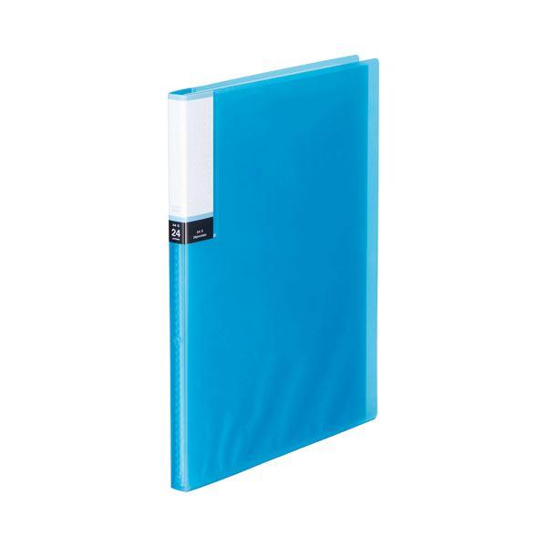 (まとめ) TANOSEE クリアブック(透明表紙) A4タテ 24ポケット 背幅15mm ブルー 1セット(10冊) 【×10セット】【日時指定不可】