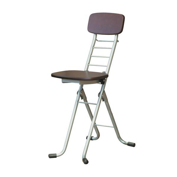 折りたたみ椅子 【2脚セット ダークブラウン×シルバー】 幅35cm 日本製 高さ6段調節 スチールパイプ 『リリィチェアM』【代引不可】【日時指定不可】