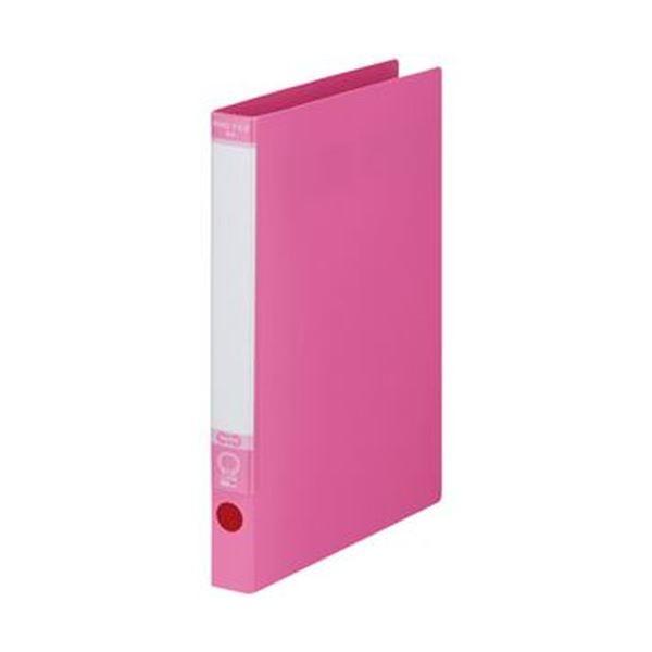 (まとめ)TANOSEE ワンタッチ開閉Oリングファイル A4タテ 2穴 170枚収容 背幅30mm ピンク 1セット(10冊)【×5セット】【日時指定不可】