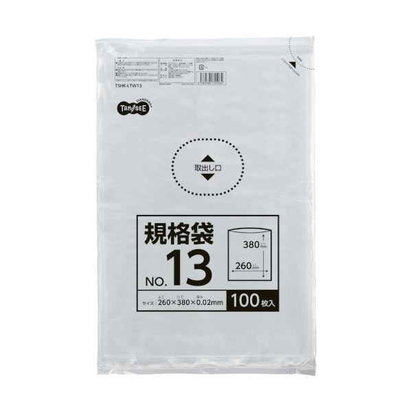 (まとめ) TANOSEE 規格袋 13号0.02×260×380mm 1セット(1000枚:100枚×10パック) 【×10セット】【日時指定不可】