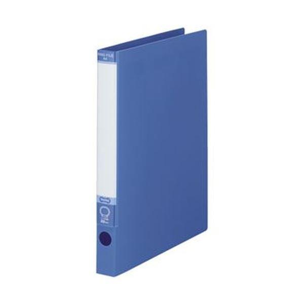 (まとめ)TANOSEE ワンタッチ開閉Oリングファイル A4タテ 2穴 170枚収容 背幅30mm ブルー 1セット(10冊)【×5セット】【日時指定不可】