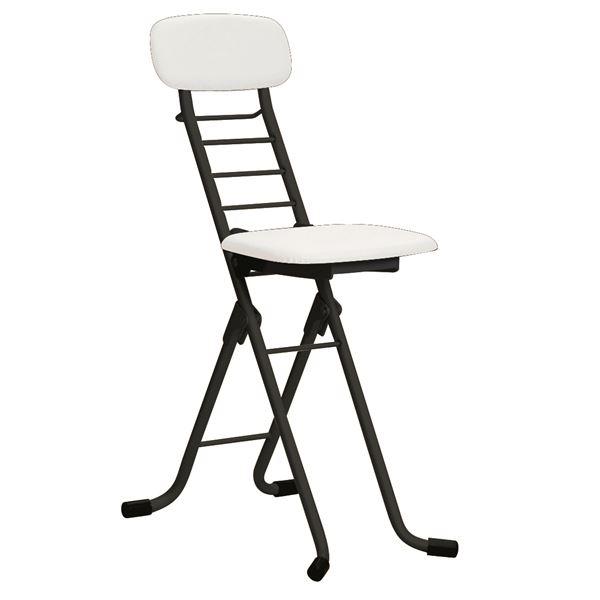 折りたたみ椅子 【4脚セット ホワイト×ブラック】 幅35cm 日本製 高さ6段調節 スチールパイプ 『カラーリリィチェア』【代引不可】【日時指定不可】