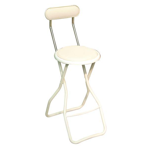 折りたたみ椅子 【4脚セット バニラホワイト×ミルキーホワイト】 幅35cm 日本製 スチール 『ヒーリングキャプテンハイ』【代引不可】【日時指定不可】