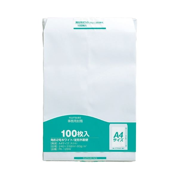 (まとめ)マルアイ 事務用封筒 PK-128W 角2 白 100枚【×30セット】【日時指定不可】