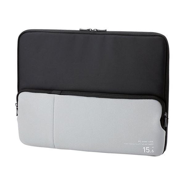 (まとめ) エレコム ポケット付きPCインナーバッグ15.6インチノートPC対応 ブラック BM-IBPT15BK 1個 【×5セット】【日時指定不可】