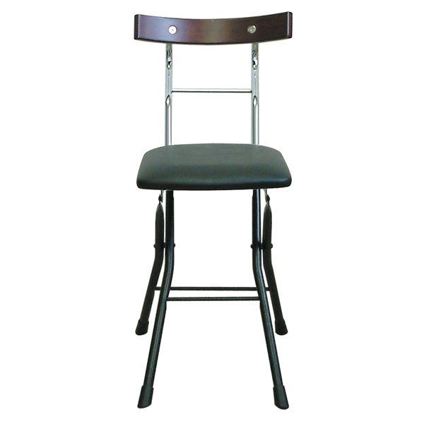 折りたたみ椅子 【ブラック×ブラック+ダークブラウン】 幅36cm 日本製 スチールパイプ 『ロイドチェア』【代引不可】【日時指定不可】